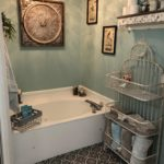 The tiled floor is one of the most beautiful features of this incredible renovated master bath!