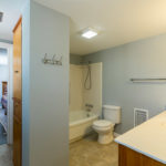 The two bedrooms upstairs share this full bath with combination tub/shower.