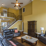 The vaulted ceiling in the living room creates open, airy space for family time.