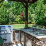 Covered and protected from the elements, this outdoor kitchen would be pleasure for any cook to use.