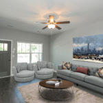 Designer ceiling fan and designer paint colors create an elegant yet casual feel to your home. (Photo of Unit 108)