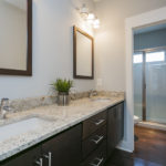 The large full bath has hallway access for the secondary bedrooms to share.