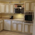 Lots of cabinet space in this kitchen and countertop surface for all your food prep.