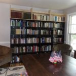 The living room also serves this family as a library.