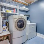 The laundry room has great storage space.