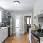 Love your galley kitchen with stainless appliances and butcher block countertops. Pella windows have been installed throughout the house.